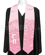 Gamma Pi Satin Graduation Stole with Greek Letters, Pink