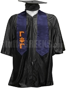 Gamma Psi Gamma Satin Graduation Stole with Greek Letters, Navy Blue