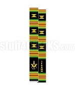 International Free & Accepted Modern Mason Kente Graduation Stole with Square & Compass, Black/Red/Green/Gold