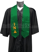 Iota Nu Delta Satin Graduation Stole with Greek Letters, Kelly Green
