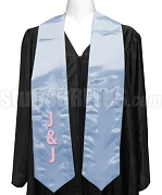 Jack & Jill Ladies Satin Graduation Stole with Organization Letters, Light Blue