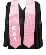 Kappa Alpha Lambda Satin Graduation Stole with Greek Letters, Pink