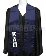 Kappa Alpha Pi Satin Ladies Graduation Stole with Greek Letters, Navy Blue
