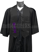 Kappa Lambda Chi Satin Graduation Stole with Greek Letters, Black