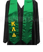 Kappa Lambda Delta Satin Graduation Stole with Greek Letters, Kelly Green