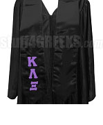 Kappa Lambda Xi Satin Graduation Stole with Greek Letters, Black