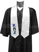 Kappa Omega Xi Satin Graduation Stole with Greek Letters, White