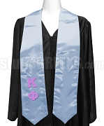 Kappa Phi Club Satin Graduation Stole with Greek Letters, Light Blue