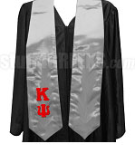 Kappa Psi Ladies' Satin Graduation Stole with Greek Letters, Gray