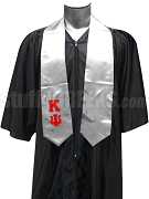 Kappa Psi Men's Satin Graduation Stole with Greek Letters, Gray