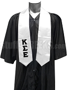 Kappa Sigma Epsilon Satin Graduation Stole with Greek Letters, White