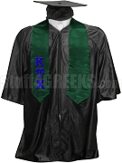 Kappa Upsilon Chi Satin Graduation Stole with Greek Letters, Forest Green