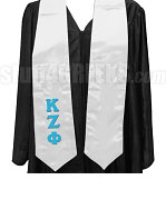 Kappa Zeta Phi Satin Graduation Stole with Greek Letters, White