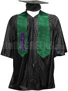 Lambda Chi Alpha Satin Graduation Stole with Greek Letters, Green