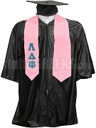 Lambda Delta Psi Satin Graduation Stole with Greek Letters, Pink