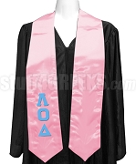 Lambda Omicron Delta Satin Graduation Stole with Greek Letters, Pink