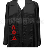 Lambda Phi Delta Satin Graduation Stole with Greek Letters, Black