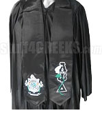 Lambda Psi Delta Satin Graduation Stole with Lily Thru Greek Letters and Crest, Black