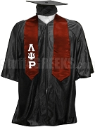 Lambda Psi Rho Satin Graduation Stole with Greek Letters, Crimson