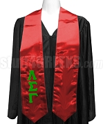 Lambda Sigma Gamma Satin Graduation Stole with Greek Letters, Red