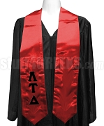Lambda Tau Delta Satin Graduation Stole with Greek Letters, Red