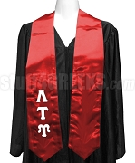 Lambda Tau Upsilon Satin Graduation Stole with Greek Letters, Red