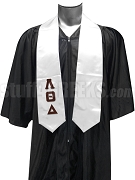 Lambda Theta Delta Satin Graduation Stole with Greek Letters, White