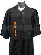 Malik Fraternity Satin Graduation Stole with Greek Letters, Black