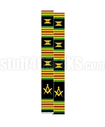 Mason Kente Graduation Stole with Square & Compass, Black/Red/Green/Gold