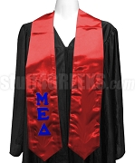 Mu Epsilon Delta Ladies Satin Graduation Stole with Greek Letters, Red
