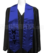 Mu Iota Upsilon Satin Graduation Stole with Greek Letters, Royal Blue