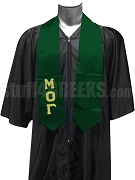 Mu Omicron Gamma Satin Graduation Stole with Greek Letters, Forest Green