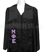Mu Phi Epsilon Ladies Satin Graduation Stole with Greek Letters, Black