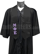 Mu Phi Epsilon Men's Satin Graduation Stole with Greek Letters, Black