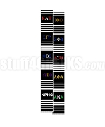 National Pan-Hellenic Council Greek Letter Kente Graduation Stole, Black