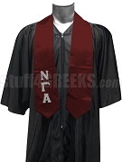 Nu Gamma Alpha Satin Graduation Stole with Greek Letters, Maroon