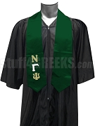 Nu Gamma Psi Satin Graduation Stole with Greek Letters, Forest Green