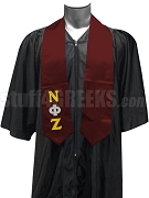 Nu Phi Zeta Satin Graduation Stole with Greek Letters, Maroon