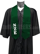 Nu Zeta Epsilon Satin Graduation Stole with Greek Letters, Forest Green