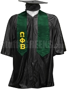 Omega Phi Beta Satin Graduation Stole with Greek Letters, Forest Green