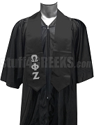 Omega Phi Zeta Satin Graduation Stole with Greek Letters, Black
