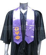 Omega Psi Phi Satin Graduation Stole with Embroidered Greek Letters, Purple