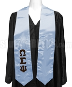 Omega Sigma Psi Satin Graduation Stole with Greek Letters, Powder Blue