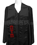 Omega Tau Pi Satin Graduation Stole with Greek Letters, Black