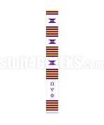 Omega Psi Phi Greek Letter Kente Graduation Stole, White
