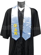 Omicron Delta Kappa Men's Satin Graduation Stole with Greek Letters, Light Blue