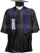 Omicron Epsilon Pi Satin Graduation Stole with Greek Letters, Navy Blue