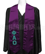 Phi Alpha Omicron Satin Graduation Stole with Greek Letters, Purple