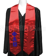 Phi Alpha Theta Ladies Satin Graduation Stole with Greek Letters, Red