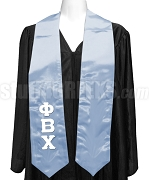 Phi Beta Chi Satin Graduation Stole with Greek Letters, Azure Blue